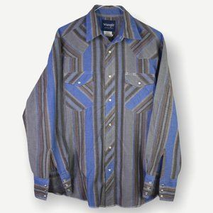 Wrangler Grey Blue Western Button Down Shirt M
